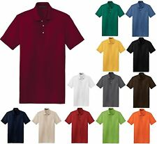 MEN'S PRESHRUNK 100% COTTON POLO, ANTI-PILL, SIDE VENTS, S M L XL 2X 3X 4X 5X 6X