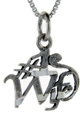 "Sterling Silver Number 1 Wife Word Pendant,Charm,18"" Italian Box Chain#PA771"