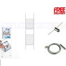 1x2 A4 Wire Cable System Acrylic Poster Holder Shop Window Sign Display Stand