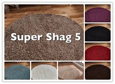 SHAGGY THICK 5cm PILE CARPET ROUND CIRCLE RUG NEW SOFT PLAIN MODERN NON SHEDDING
