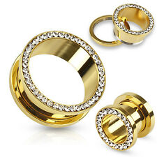 PAIR Gem Rimmed Gold Ion Plated Tunnels Plugs Earlets Gauges