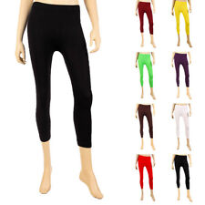 Womens Capri Cropped Leggings Basic Stretch Pants Tights Spandex One Size S M L