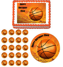 BASKETBALL  Edible Birthday Cake Topper Cupcake Image Decoration