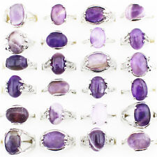 10pcs Mixed Turquoise Amethyst Rings Wholesale Lot Silver Plated Fashion Jewelry