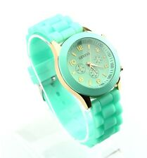 NEW Unisex Geneva Silicone Jelly Gel Quartz Analog Sports Wrist Watch green AB