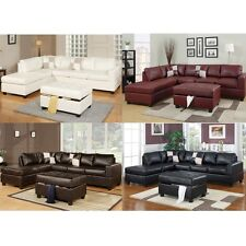 Chic Modern Bonded Leather Living Room Sectional Sofa Chaise with Ottoman Option