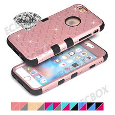 Hybrid Impact Rubber Bling Diamond Hard Matte PC Combo Hard Case for iPhone 4 4S