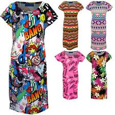 Girls Funky Neon Comic Floral Luminous Print Cap Sleeve Children's Fitted Dress