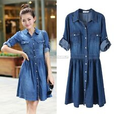 Women's Casual Denim Blue Long Sleeve Cocktail Party Jeans Shirt Dress M-XXL