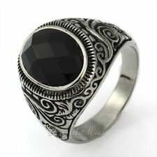 X'mas GIFT Mens Gothic Black CZ Engraved Swirl Silver 316L Stainless Steel Ring