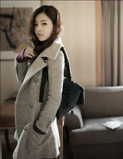2014 new woman fashion Lapel Long section Slim double-breasted Woolen jacket 717