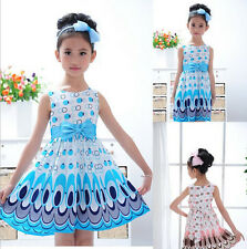 Kids Girls Baby Children Peacock Animal Chiffon Dresses Skirt Clothes Clothing