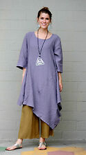 BRYN WALKER Light Linen NAIDA TUNIC Lagenlook Asymmetric Dress  S M L XL  LUNA