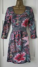 White Stuff Green Red Grey VTG Floral Jersey Tunic Dress Top 8 10 12 14 16 18