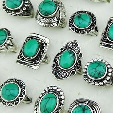 10-30pcs Vintage Antique Silver Green Turquoise Womens Mens Rings Wholesale Lots