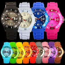 New Sport Style Silicone Rubber Unisex Jelly With DATE Wrist Watch For Boys Girl
