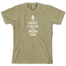 Keep Calm and Iron On - Mens T-Shirt - Ironing - Cleaning - 10 Colours