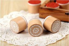 New 6 Types Cute little DIY Lace pattern Wooden Round Rubber Stamp AB