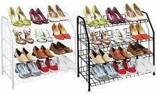 12 PAIR FREE STANDING 4 TIER SHOE TOWER RACK ORGANIZER POWDER COATED BLACK WHITE