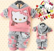 baby suit set Girl's Hello Kitty clothing velvet Sport suits hoody jackets+pants