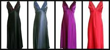 Ladies Satin Lace Long Nightdress Nightie Chemise Embroidery Detail Sizes 10-24