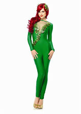 Sexy Batman Movie Poison Ivy Girl Green Jumpsuit Adult Halloween Fancy Costume