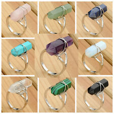 Silver Plated Natural Quartz Gemstone Adjustable Chakra Finger Rings Women Mens