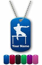 Personalized Military ID Dog Tag with Chain - HURDLES MAN, RACE, TRACK AND FIELD