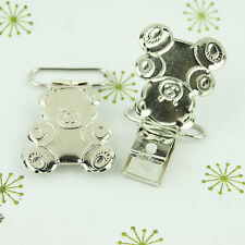 Teddy Bear Pacifier Clips/ Suspender Clip 1 INCH Metal Dummy/Paci/Toy Holder