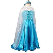 Girls Frozen Elsa Dress Up Gown Costume Ice Princess Queen Dress+Cape+Crown 3-8