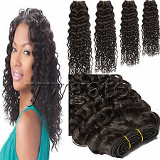 """100% Remy Real Deep Wave Wavy Curly Human Hair Extensions Weaving Wefts 12""""-30"""""""