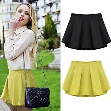 2014 New Europe Autumn Women Leisure Pure Skirt High Waist Fold Slim Shorts