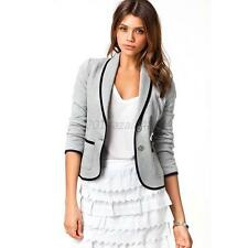 Fashion Korean Womens Girls Solid Slim Short Casual Suit Jacket Blazer Coat S-XL