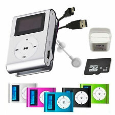 MINI REPRODUCTOR MP3 CLIP LCD ALUMINIO HASTA 32GB MICRO SD RADIO FM PLAYER PLATA