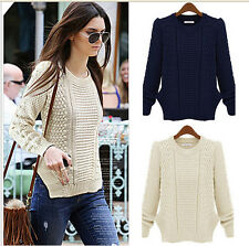 Women Knitted Pullover Jumper Sweater Round Neck Long Sleeve Knitwear Tops Loose