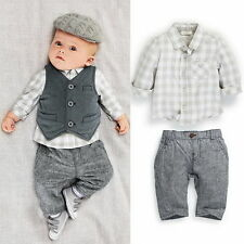 Baby Boys Plaid Gentleman Tshirt +Pants Vest 3pcs Outfits Set Kids 0-24M Costume