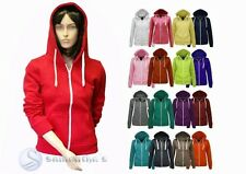 NEW WOMENS LADIES PLAIN ZIP HOODIE CASUAL SWEATSHIRT FLEECE HOODED JACKET 8-20