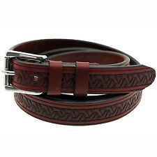 "American Made 1 1/8"" Burgundy Latigo Embossed Leather Belt With Double Loops"