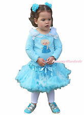 Princess Elsa Print Ruffle Bow L/S Blue Top Light Blue Snowflake Girl Skirt 1-8Y