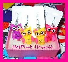 """GIRLS Owl Earring Matching Necklace 16"""" Silver Plated Jewelry USA HANDMADE"""