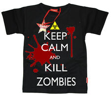 WORLD OF WAR INSPIRED KEEP CALM AND KILL ZOMBIES COD KIDS T-SHIRT (BLACK)