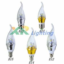 B15 B22 E12 E14 E27 Dimmable 3W High Power LED Chandelier Candle Light Bulb Lamp
