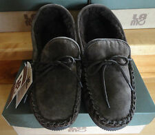 NIB MEN'S SLIPPERS LAMO SUEDE MOCASSIN SLIPPERS OUT/INDOOR SOLES Size 9