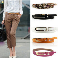 Women's Lady Waistband PU Leather Thin Skinny Waist Buckle Belt Strap Multicolor