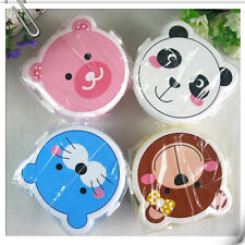 Lovely Kid Cartoon Plastic Lunch Meal Bento Box Case Set Spoon Microwaveable