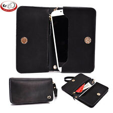 Kroo Genunie Leather Clutch Wristlet Case for 4 to 5 inch Smartphone