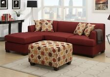 Sectional Reversible Chaise Sofa Loveseat Couch Blended Linen Dark Red + Ottoman