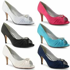 New Womens Ladies Wedding Bridal Evening Peep Toe Court Shoes Pumps UK Size 3-8