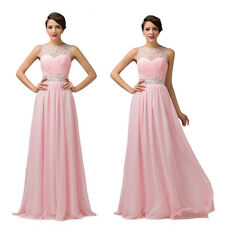 Summer Long Chiffon Evening Formal Party Ball Gown Prom Bridesmaid Dresses Pink