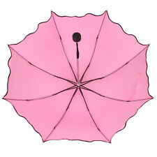 New Fashion Lady Flouncing Princess Dome Wave Parasol Sun/Rain Folding Umbrella